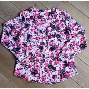 Candie's Floral Print Blouse Size Large